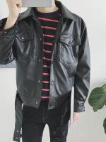 เสื้อแจ็คเก็ตหนังสีดำเกาหลี แต่งกระเป๋าเสื้อคู่