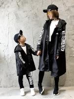 ชุดครอบครัวเซท2ชุด เสื้อแจ๊คเก็ตตัวยาวสีดำ แต่งลายอักษร