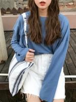 เสื้อยืดแขนยาวผู้หญิงสีพื้นแขนค้างคาวแนวเกาหลี เนื้อผ้าฝ้าย