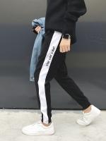 กางเกงขายาวเกาหลี แต่งแถบด้านข้าง จั้มขา มี4สี
