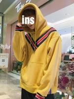 เสื้อฮู้ดแจ็คเก็ตเกาหลี แต่งแถบเส้นตัวVคาดอก มี3สี