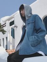 เสื้อฮู้ดแจ็คเก็ตยีนส์เกาหลี แต่งกระเป๋าเสื้อคู่ มี2สี