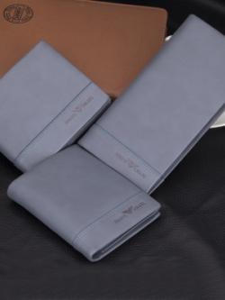 กระเป๋าสตางค์เกาหลี สีเทาฟ้า JOSEPH AMANI แต่งแถบเส้นคาดด้านล่าง