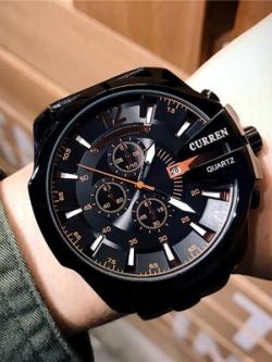 นาฬิกาข้อมือเกาหลี สีดำ แต่งขอบ ดีไซน์เท่