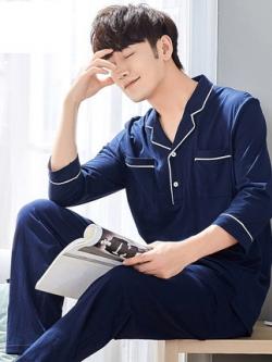 ชุดนอนสีน้ำเงินเกาหลี แต่งกระเป๋าเสื้อคู่ เสื้อ+กางเกง