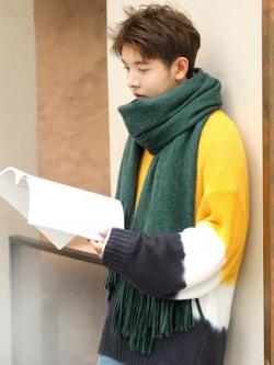 ผ้าพันคอเกาหลี เรียบสวย แต่งพู่ยาวด้านล่าง มี2สี