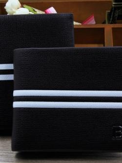 กระเป๋าสตางค์เกาหลี สีดำ ดีไซส์คาดแถบขาวตรงกลาง แนวโมเดิร์น มี3แบบ