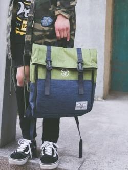 กระเป๋าสะพายหลังเกาหลี แนวฮาราจูกุ แต่งฝาปิดกระเป๋า มี5สี