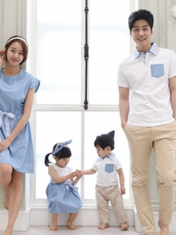 ชุดครอบครัวเซท4ชุด เสื้อโปโล+เดรสสั้น