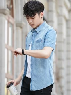 เสื้อเชิ้ตยีนส์แขนสั้นเกาหลี แต่งกระเป๋าเสื้อ มี2สี