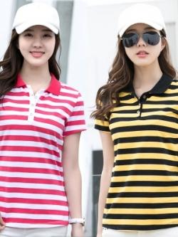 เสื้อโปโลแขนสั้นเกาหลี ลายขวาง สีสันสดใส มี2สี