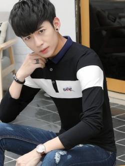 เสื้อโปโลแขนยาวเกาหลี เรียบสวย แต่งโลโก้ มี3สี