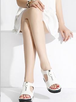 รองเท้าส้นสูงเกาหลี ดีไซน์ซิบด้านหน้า ทรงมัฟฟิน มี2สี