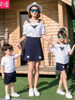 ชุดครอบครัวเซท3ชุด เดรสกระโปรง+เสื้อกางเกง
