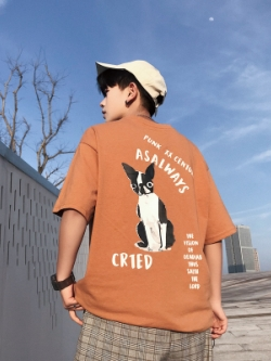 เสื้อยืดแขนสั้นเกาหลี แต่งลายน้องหมา มี4สี