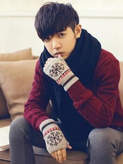 ถุงมือกันหนาวเกาหลี ขนสัตว์อุ่นสบาย เปิดนิ้ว พิมพ์ลายสวย มี3สี