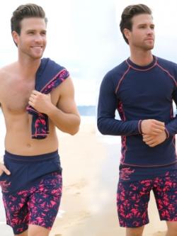 ชุดว่ายน้ำสีน้ำเงินเกาหลี แต่งลาย เสื้อแขนยาว+กางเกง