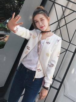 เสื้อแจ็คเก็ตเบสบอลเกาหลี แต่งลายทั้งตัว แนวเสื้อคลุม