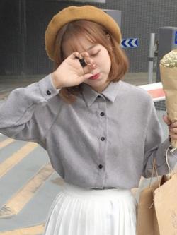 เสื้อแขนยาวเกาหลี ทรงหลวม แนวฮาราจุกุ มี3สี