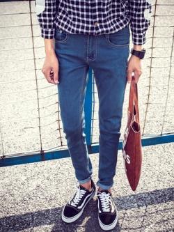กางเกงยีนส์ขายาวเกาหลี ทรงเข้ารูป แนวอินเทรนด์ มี2สี