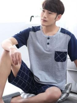 ชุดนอนสีเทาเกาหลี แต่งคอปกเสื้อ เสื้อแขนสั้น+กางเกง
