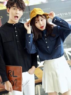 ชุดคู่รักเกาหลี เสื้อแฟชั่นแขนยาว แต่งแถบกระดุม+กระเป๋าเสื้อ มี2สี