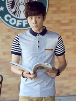 เสื้อโปโลแขนสั้นเกาหลี แต่งลายแขนเสื้อ ดีไซน์คอปก มี3สี