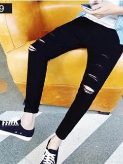 กางเกงขายาวสีดำเกาหลี แต่งรอยขาดเซอร์ๆ ทรงเข้ารูป