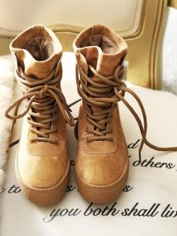 รองเท้าบูททรงสูงกำมะหยี่เกาหลี แนวมาร์ตินส์ มี2สี