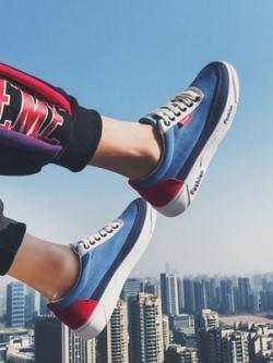 รองเท้าผ้าใบเกาหลี แต่งสีสลับ ทรงสวย มี4สี