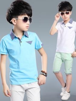 เสื้อโปโลเด็กแขนสั้นเกาหลี แต่งขอบลายตาราง มี3สี