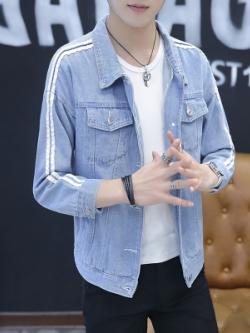 เสื้อแจ็คเก็ตยีนส์เกาหลี สีฟ้า แถบเส้นด้านข้าง