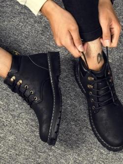 Pre Order รองเท้ามาร์ตินผู้ชาย ดีไซน์เท่ห์ทำจากหนังทรงสูง สไตล์ยุโรป มี3สี