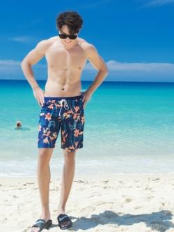 กางเกงว่ายน้ำเกาหลี แนวชายหาด สกรีนลายทั้งตัว