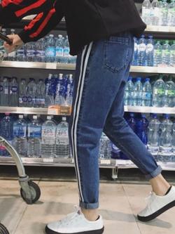 กางเกงยีนส์ขายาวเกาหลี แต่งแถบเส้นด้านข้าง มี3สี