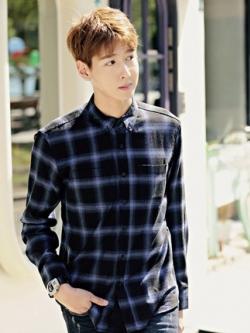 เสื้อเชิ้ตแขนยาวเกาหลี แต่งลายตารางสก็อต มี3สี