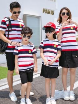 ชุดครอบครัวเซท4ชุด เสื้อยืดลายขวาง+กางเกงขาสั้น