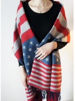 ผ้าพันคอ/ผ้าคลุมไหล่ผ้าขนสัตว์แคชเมียร์รูปดาวห้าแฉกลายธงชาติอเมริกัน
