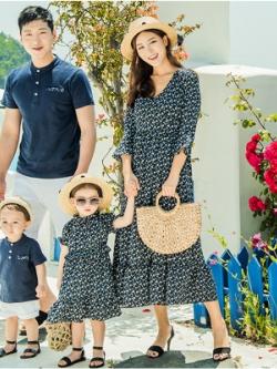 ชุดครอบครัวเซท4ชุด เสื้อโปโล+เดรสยาว