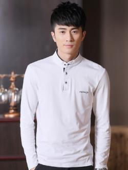 เสื้อโปโลแขนยาวเกาหลี แต่งแถบกระดุม FASHION มี4สี