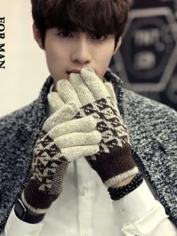 ถุงมือกันหนาวเกาหลี ผ้าขนสัตว์ถัก สีน้ำตาล พิมพ์ลายสวย
