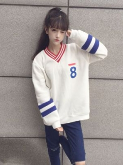 เสื้อกันหนาวแขนยาวเกาหลี แต่งคอVป้าย พิมพ์ลาย มี2สี