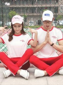 ชุดคู่รักเกาหลี แนวSport เสื้อยืดแขนสั้น+กางเกงขายาว มี3สี