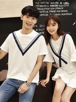ชุดคู่รักสีขาวเกาหลี แต่งแถบตัวV เสื้อยืด+เดรสสั้น