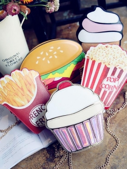 กระเป๋าสะพายข้างใบเล็ก ทรงไอศกรีม เบอร์เกอร์ French Fries คัพเค้กน่ารัก สายห่วงโซ่