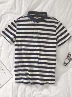 เสื้อโปโลแขนสั้นเกาหลี ลายขวางสีดำขาว