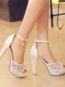 รองเท้าส้นสูงเกาหลี สายรัดข้อ แต่งตาข่ายคลุมด้านหน้า มี3สี