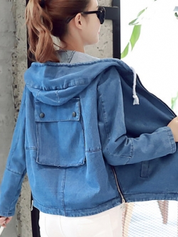 เสื้อฮู้ดแจ็คเก็ตยีนส์เกาหลี แต่งกระเป๋าเสื้อเก๋ด้านหลัง มี2สี