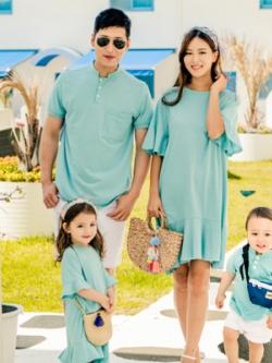 ชุดครอบครัวเซท4ชุด เสื้อโปโลแขนสั้น+เดรสสั้นแต่งแขนเสื้อ