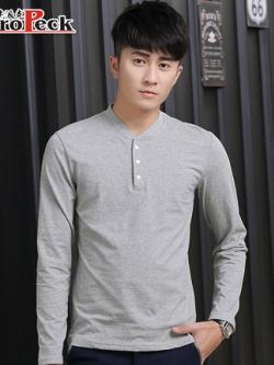 เสื้อโปโลแขนยาวเกาหลี ดีไซน์คอปกเสื้อ มี4สี